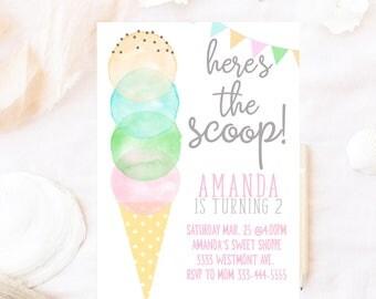 Ice cream birthday invitation, Watercolor ice cream birthday invitation, Ice cream invitation, Watercolor invite, Ice cream cone invitation