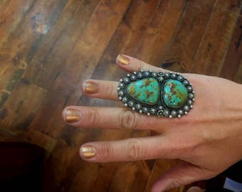 Huge Size 8 Sterling silver and turquoise ring