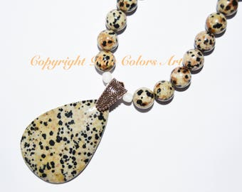 "24"" Dalmation Jasper Stone Bead Necklace,Neutral Necklace,Jasper Stone Necklace,24"" Necklace,Go With Everything,Neutral Gemstone Necklace"
