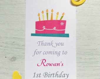 personalised birthday thank you tags (cake)