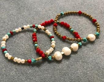Water Pearls womens bracelet trio