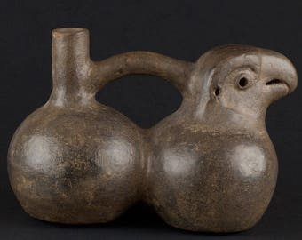 Pre-columbian CHIMU double-chambered whistling strap vessel