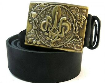 Belt with national Ukrainian buckle design