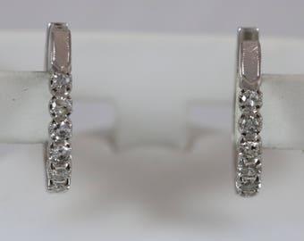 14k White Gold 2mm Round Cut Diamond Dangle Hoop Huggie Earrings 8.2g