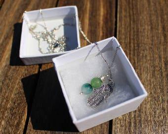 Hamsa Hand necklace (with Aquamarine and Apatite)