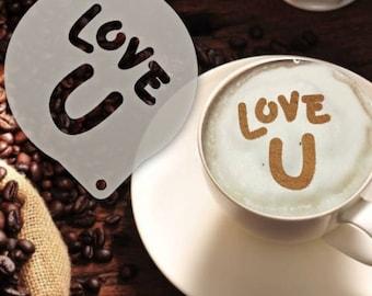 Love U Coffee Stencil