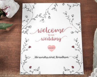 Rustic Wedding Welcome Sign customized, Printable sign Woodland wedding, Forest Wedding,Garden Wedding Boho Wedding Botanical Wedding wreath
