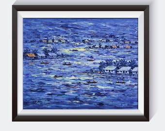 Original Oil Paining of Floating Village in the Dark Blue Sea by Cambodia Famous Artist Keo Titia
