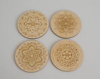 Set of 4 mandala flower drinks coasters. Laser engraved wooden coasters floral indian mandalas L25