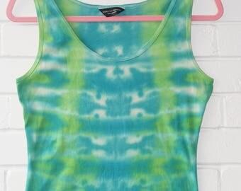 Blue & Green Tie Dye Ladies Vest UK 14