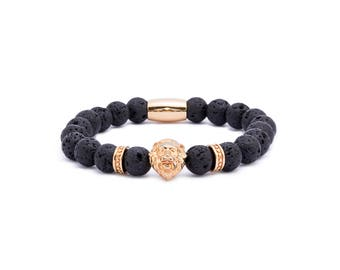 Lava Lion Gold Bracelet, Lavastone Gemstones with gold Lion