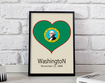 Washington art US State poster wall art Gift poster Washington wall decor print