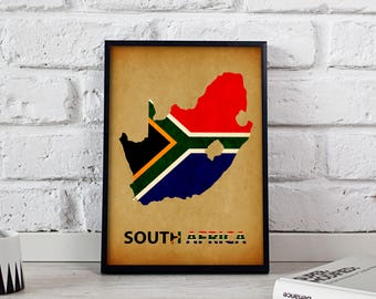 South Africa poster South Africa art South Africa Map poster South Africa print wall art South Africa wall decor Gift print
