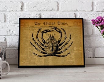 Crab Vintage poster, Crab wall art, Nautical poster, Crab wall decor, Crab print, Ocean poster
