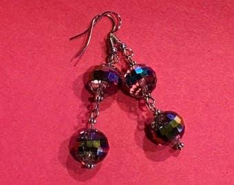 Round Disco Rhinestone Dangled Earrings