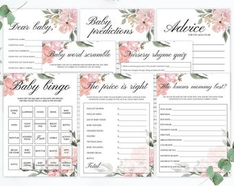 Whimsical Baby Shower Games Bundle Floral Baby Shower Game Pack Pink Flowers Watercolor Baby Girl Shower Activities DIY Instant Download WF1