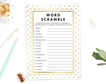 Baby Word Scramble Shower Game White and Gold Baby Party Games Printable Chic Baby Shower Decor Baby Shower Guessing Game Cards Download GD1