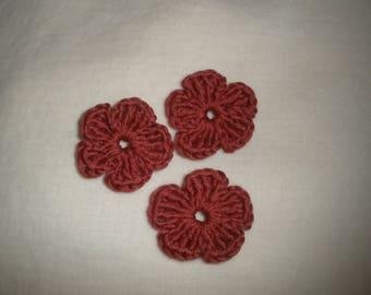 Set of six crochet flowers