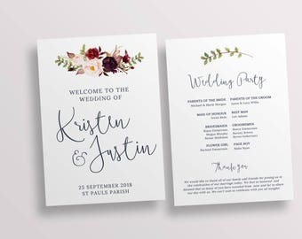 Ceremony program, wedding program, church program template, wedding ceremony, printable program templett instant download 128268