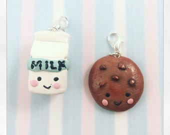Cookie and Milk clay Charms
