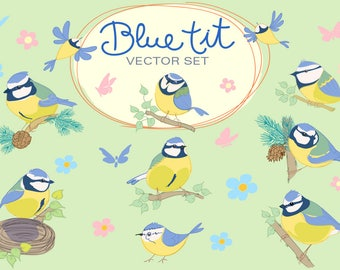 Blue tit. Cartoon bird vector set