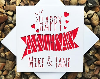 Personalised Happy Anniversary Card, Lasercut Anniversary, Anniversary Gift, For Him, For Her, Personalised card