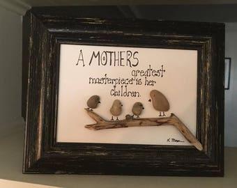 A Mother's Love Pebble Art, Rock Art, Family Reunion Art
