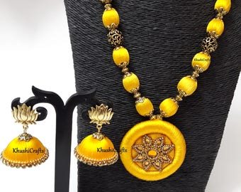 Yellow Silk Thread Jewelry Set with Jhumkas-Handmade Indian Jewelry