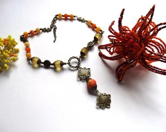 Yellow and orange beads necklace dragon vein agate and bronze short necklace and pendant - gift idea for woman