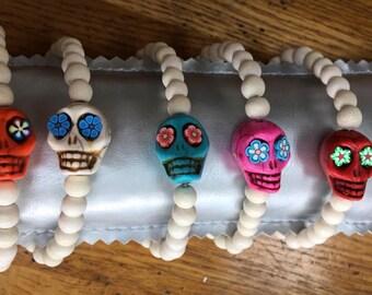 howlite skull bracelet