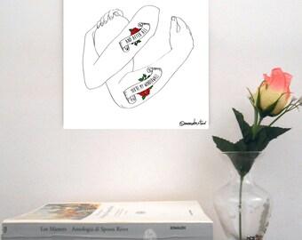 """Sketch print on rigid support-""""Oasis/Wonderwall"""""""