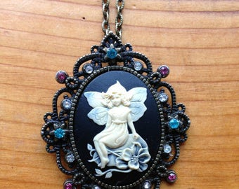 Fairy Cameo with Swarovksi Crystals –Handmade