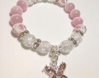Butterfly Rose Bead Bracelet