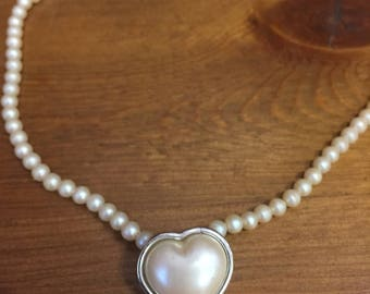 Monet Faux Pearl Necklace with Faux Pearl Heart