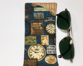 Glasses/Sunglasses Fabric Case - Padded Clock theme Fabric Soft Case/Pouch with contrast fabric lining, Gifts under 20, Gift for Her