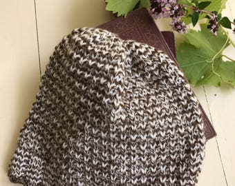 Hand  knitted woolen men's beanie hat