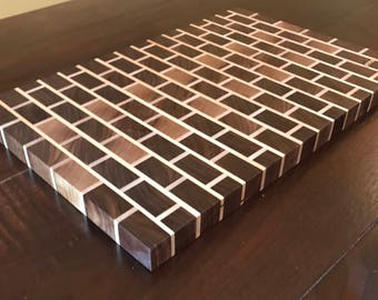 Endgrain Walnut & Maple Endgrain Brick Pattern Cutting Board