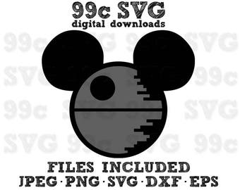 Star Wars Mickey Death Star SVG DXF Png Vector Cut File Cricut Design Silhouette Cameo Vinyl Decal Party Stencil Heat Transfer Iron