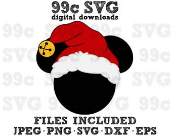 Mickey Holiday Santa Hat SVG DXF Png Vector Cut File Cricut Design Silhouette Vinyl Decal Disney Party Stencil Template Heat Transfer