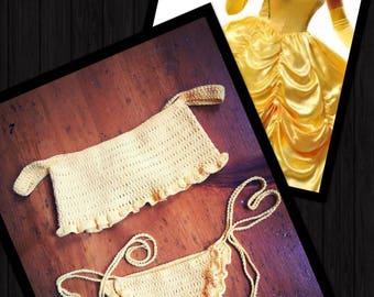 Disney's Belle Inspired Handmade Crochet Bikini Swimsuit