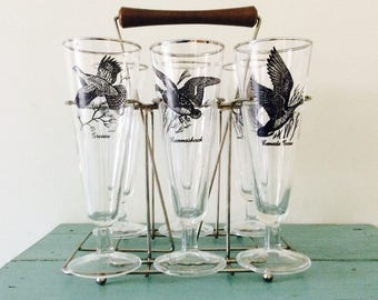 Federal Glass 'Sportsman' Game Bird Pilsner Glasses & Metal Caddy with Wooden Handle