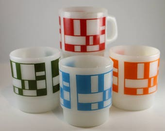 Fire-King Geometric Stackable Mugs by Anchor Hocking