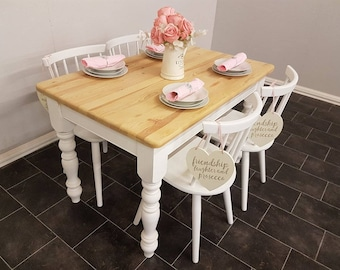 Beautiful 4 ft x 2.5 ft shabby chic table with four chairs