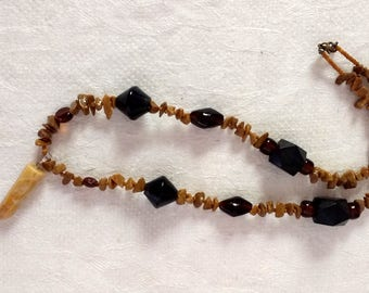 Yellow Jasper brown beaded necklace with Jasper pendant