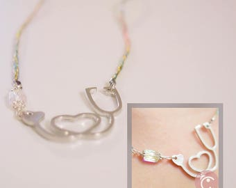 Check My Heart Collection - With Thick thread Cord in metallic colors with pearl/Swarovski
