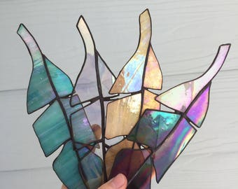Yellow Iridescent Stained Glass Feather