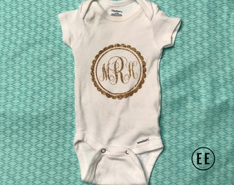 Scalloped Monogram Onesie
