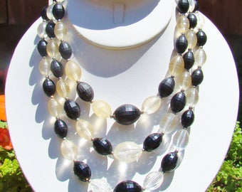FREE SHIPPING ~ Tripple Strand Black and Silver Plastic Beaded Vintage Necklace ~