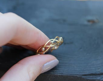 Gold adjustable stackable cute ring