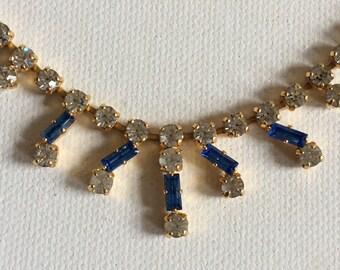 Vintage wedding necklet. Bride. Bridesmaid. Gold tone white and blue paste necklet